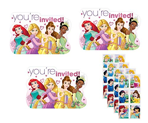 Invitation Disney Birthday Princess - Princess Birthday Party Invitations - 24 Invitations with 24 Stickers