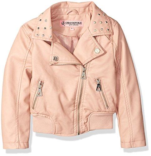 Urban Republic Toddler Girls Faux Leather Moto Jacket, Rose Smoke, 4T -