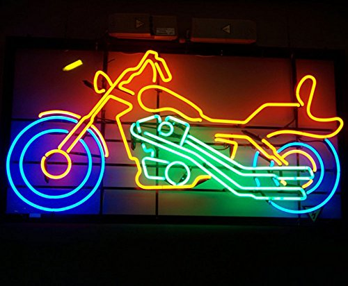 "iecool Live to Ride Motorcycle Neon Sign 17""x14"" Real Glass Bright Neon Light for Mancave Beer Bar Pub Garage Room"