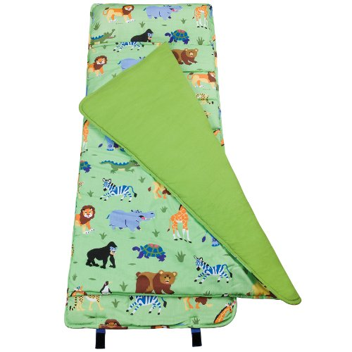 Microfiber Blend - Original Nap Mat Olive Kids by Wildkin Children's Original Nap Mat with Built in Blanket and Pillowcase Pillow Insert Included Premium Cotton and Microfiber Blend Ages 3-7 years Wild Animals