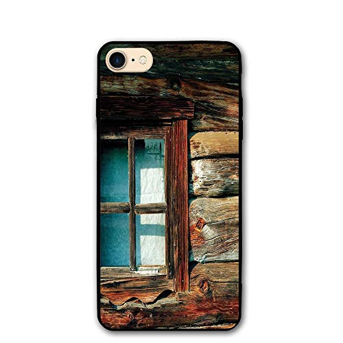 Haixia IPhone 7/8 Shell 4.7 Inch Scenery Decor Single Window With White Curtain On A Wooden Made Lumberjack House Photo Full Brown And Blue