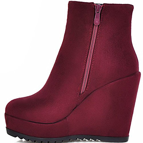 Booties Ankle Vegan 1Burgundy Women's Zippers Covered Side KingRover Platform Wedge RPq8Yx4