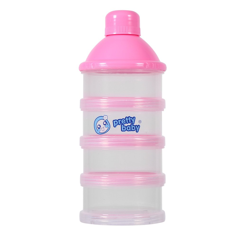 4 Layers Portable Infant Baby Milk Powder Formula Food Fruit Dispenser Storage Case Box Feeding Container(Pink) Zerodis