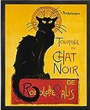 Le Chat Noir (The Black Cat). Framed Art Print Poster. Custom Made Real Wood Charcoal Black Frame (17 1/8 x 21 1/8)