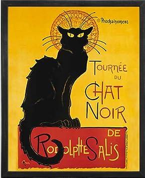 Le Chat Noir The Black Cat . Framed Art Print Poster. Custom Made Real Wood Charcoal Black Frame 17 1 8 x 21 1 8
