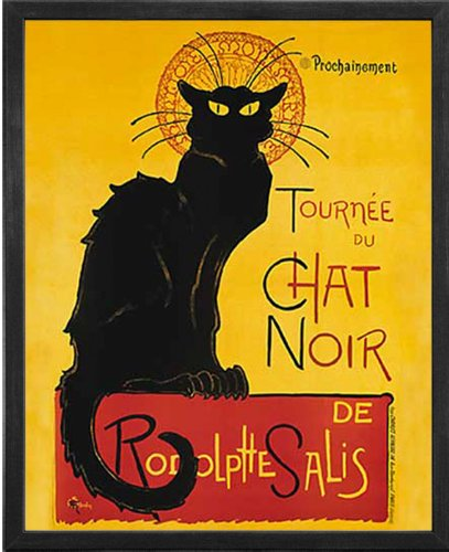 Le Chat Noir (The Black Cat). Framed Art Print Poster. Custom Made Real Wood Charcoal Black Frame (17 1/8 x 21 1/8) (Chat Spring)