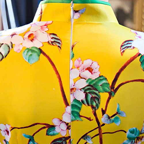 Luck Femme Cheongsam Robe Courte Chinoise Manche 3/4 Traditionnelle Classique Motif Floral Polyester Jaune