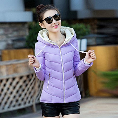 Coat Down Color Slim Hooded Was Coat Xuanku Thin Small Light Jacket Female purple Paragraph Pure Women Short wTRBntOxAq