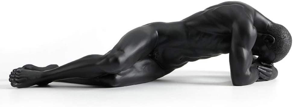 Statues Sculpture Figurines Statuettes,Creative Resin Black Naked Men Figure Art Figurine Sculpture Collectible,Ornaments Desktop Crafts Art Décor Statuettes for Indoor Living Room Office Home Deco