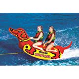 WOW Sports 19-1160 Heavy Duty Super Dog 2 Person Towable Tube w/Handles, Yellow & Red
