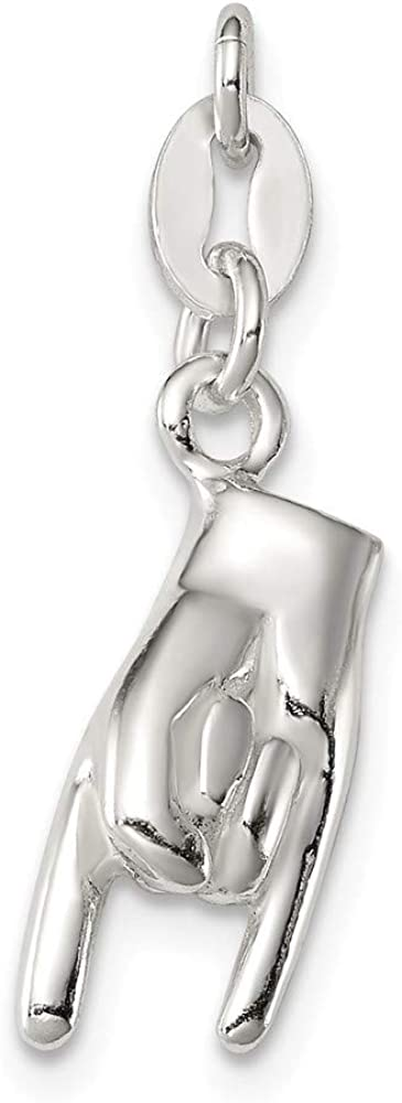 Jewel Tie 925 Sterling Silver Good Luck Pendant Charm 8mm x 20mm