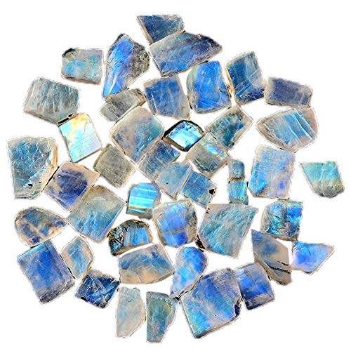 Jaguar Gems 100cts AA Natural Rough Rainbow Moonstone, Raw Crystal, Blue Flash Gemstone, Jewelry Making Supply, Handpicked Loose Gemstones