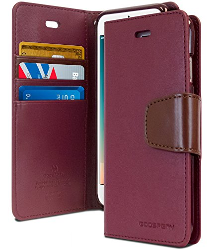iPhone 8 Case & iPhone 7 Case [Wallet Case] GOOSPERY Sonata Diary [Drop Protection] Premium PU Leather Case with TPU Casing[Card & Cash Slots]Flip Stand Cover for Apple iPhone 8 & 7 (Wine) IP7-SON-WNE