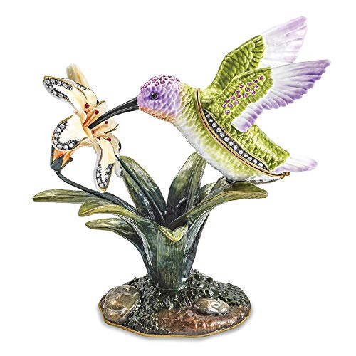 (Jere Luxury Giftware Bejeweled Viola Hummingbird & Daylily, Pewter with Enamel Collectible Trinket Box with Matching Pendant Necklace)