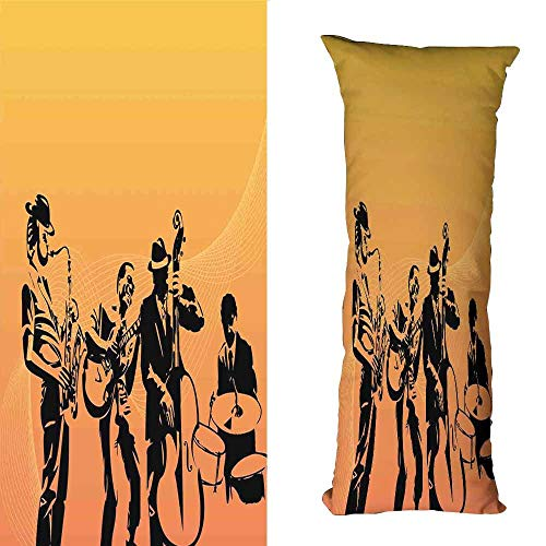 (DuckBaby Extra Long Pillowcase Jazz Music Silhouette of Jazz Quartet Performing on Stage Acoustic Passion Old Style Art Machine Washable W19.5 xL59 Mustard Black )