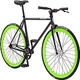 Pure Fix Glow in the Dark Fixed Gear Single Speed Bicycle, Hotel Gloss Black/Glow Dark Green, 50cm/Small
