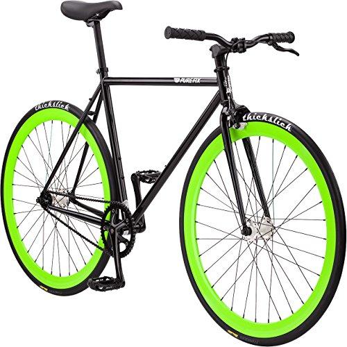 Pure Fix Glow in the Dark Fixed Gear Single Speed Bicycle, Hotel Gloss Black/Glow Dark Green, 58cm/Large