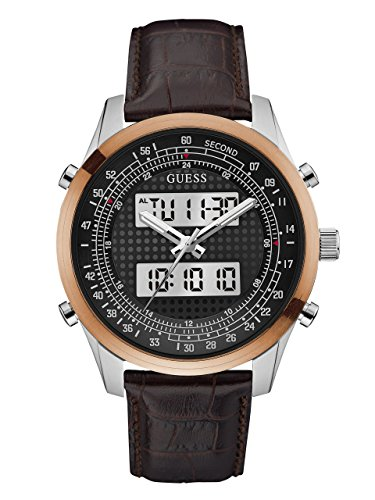 GUESS-Mens-U0861G1-Trendy-Silver-Tone-Stainless-Steel-Watch-with-Digital-Dial-and-Brown-Strap-Buckle
