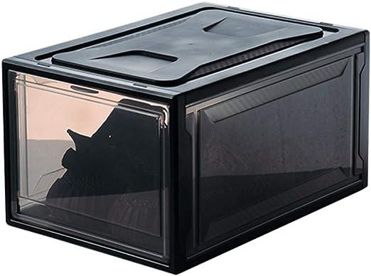 ALXDR 3 Paquetes De Cajas De Zapatos Claras con Tapas Apilables Y Plegables Caja Organizadora De Plástico,Black: Amazon.es: Hogar