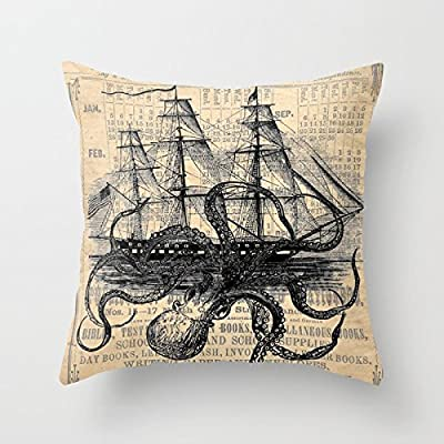 Jagfhhs Octopus Kraken Attacking Ship Antique Almanac Paper Home Indoor For Decor Fashion Style Comfortanble Cotton Square Standar Size:18x18 IN (Two Sides) : Garden & Outdoor