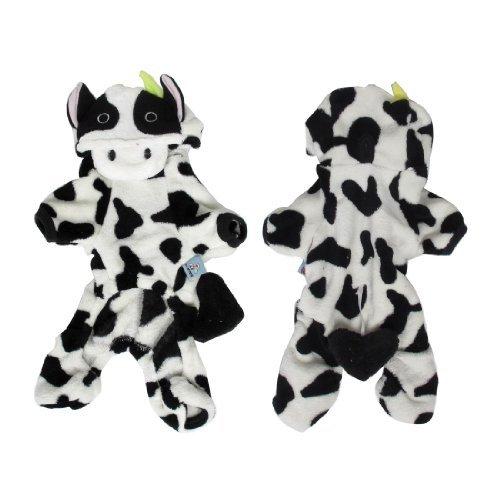 Negro Blanco de manga corta con capucha diseño de la vaca para mascotas Mono S