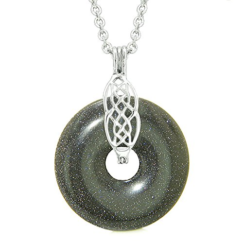 Celtic Shield Knot Protection Magic Powers Amulet Blue Goldstone Lucky Donut Pendant 18 Inch Necklace