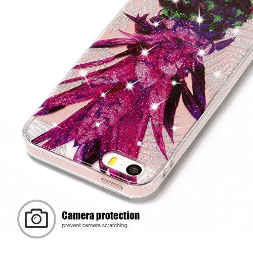 Funda iPhone 5 / 5S / SE, iPhone 5 Funda Silicona, SpiritSun Soft Carcasa Funda para iPhone 5 / 5S / SE (4.0 pulgadas) Trasparente Carcasa Case Cristal Gel Protectora Carcasa Ultra Delgado y Ligero Fl Piña