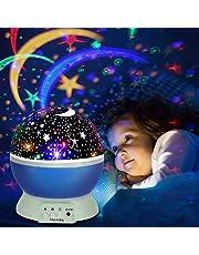 Lámpara de Proyector, omitium Lámpara de Noche Lámparas Infantiles Estrella Luces navidad 360 Grados Rotación Proyector de 3 Modos de luz Nocturna para Niños, Dormitorio, Decoración Casa - Rosa