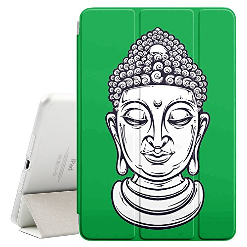 "Price comparison product image Graphic4You Buddha Head (Green) Ultra Slim Case Smart Cover Stand [with Sleep / Wake Function] for Apple iPad 2017 (9.7"")"