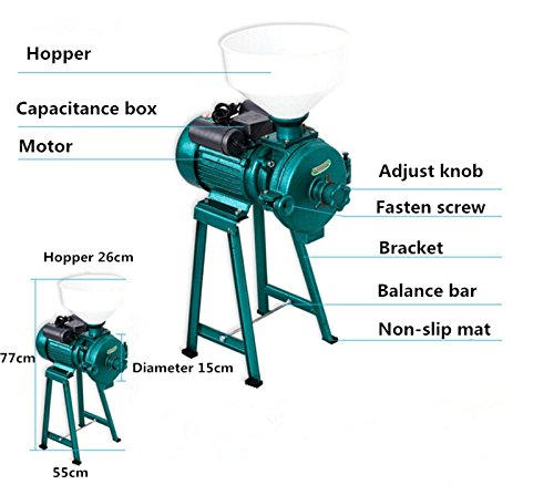 Welljoin Electric Animal Poultry Feed Mill Wet Dry Grinder Corn Grain Rice Wheat 220V by well join