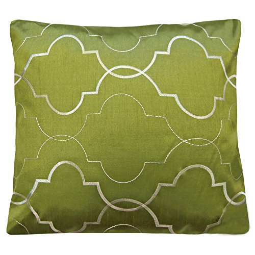 Just Contempo 1 x Cushion Cover 22x22 inches RETRO Embroidered Cushion Covers Sofa Bed Scatter Cushions - Small & Large, Green