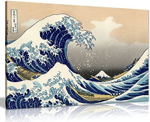 Katsushika Hokusai The Great Wave Off Kanagawa Canvas Wall Art Picture Print 36x24in