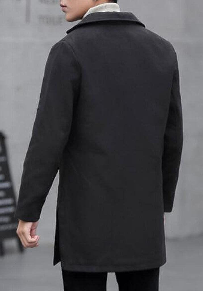 MOUTEN Men Regular Fit Casual Business Winter Warm Pea Coat Trench Jacket Outerwear