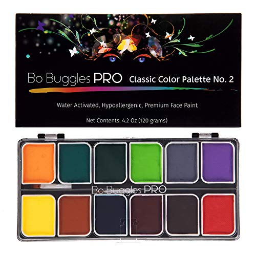 Bo Buggles Professional Face Paint Kit. Face Painting Palette No.2 Water-Activated Loved by Pro Painters for Vibrant Detailed Designs. 12x10 Gram Paints +2 Brushes. Safe Quality Makeup Paint Supplies (Kits Face Painters)