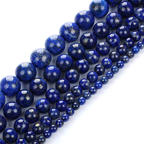 Ruilong Natural Color Genuine Blue Lapis Lazuli Real Gemstone Loose Beads for Necklace Jewelry Making (6MM)