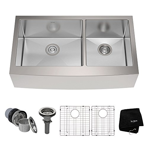 Kraus KHF203-36 36 inch Farmhouse Apron 60/40 Double Bowl 16 gauge Stainless Steel Kitchen Sink (Double Bowl Apron)