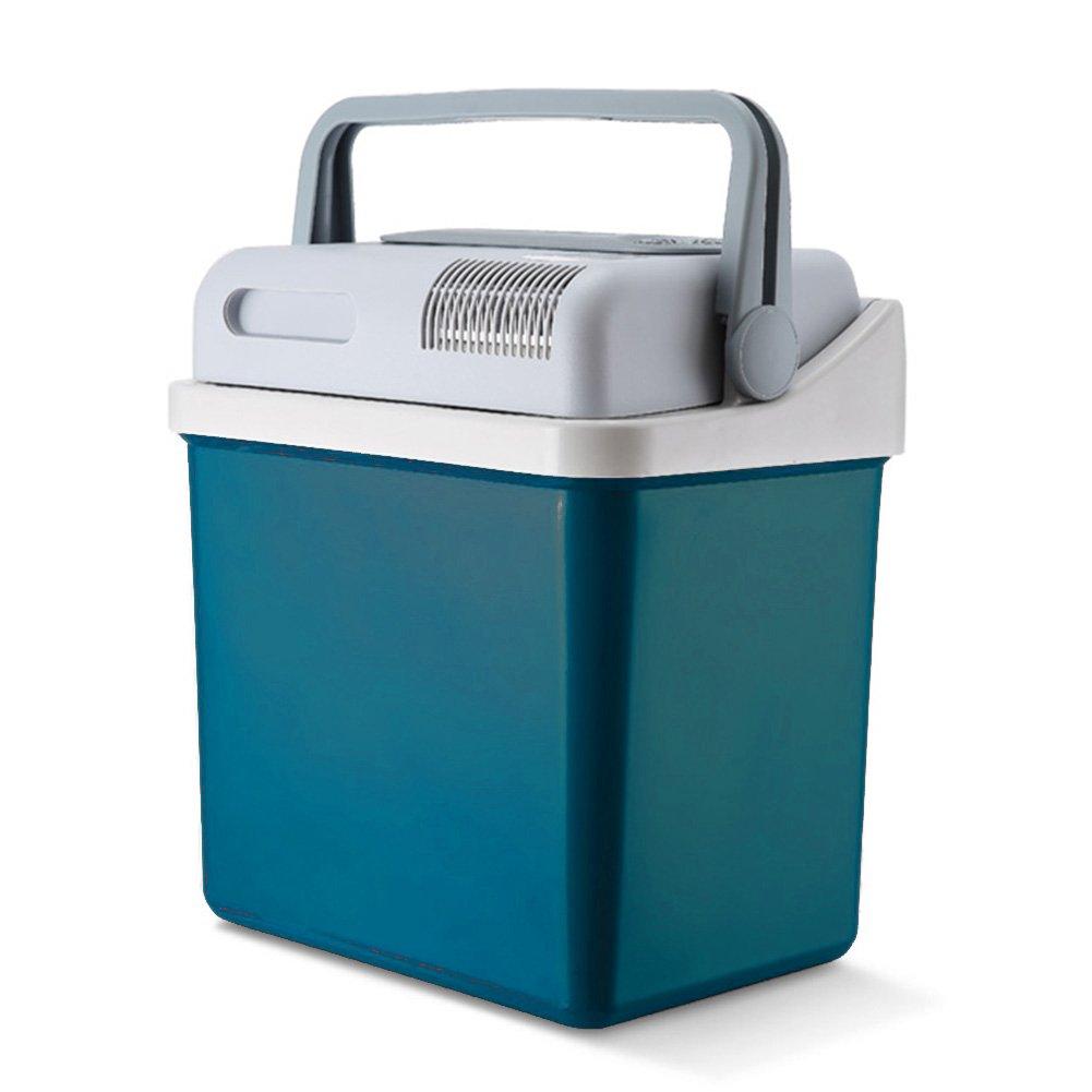 LIQICAI 20L Elektrische Kühlbox Minikühlschrank 12V Kühlung Wärmen Auto Haus, Tragbar Kippgriff, 2 Farben optional (Farbe : Blau Grün)