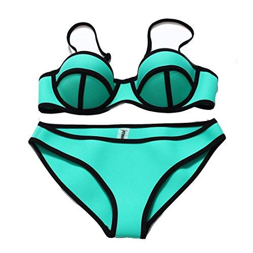 Erica Bikinis de las mujeres de las correas de la playa dos pedazos fijaron el traje de baño sólido empujan hacia arriba el sujetador rellenado Brays Polyster Green