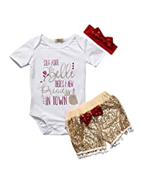 Baby Girls Clothes Set Letter Print Top+Sequins Pom Shorts+Bow Headband