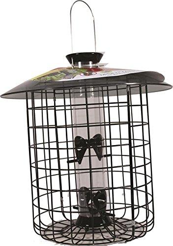 Droll Yankee Sunflower Bird Feeder (Droll Yankees Squirrel Proof Bird Feeder, Sunflower Domed Caged Bird Feeder SDC-B, 15 Inch, 1 Pound Seed Capacity, 4 Ports, Black)