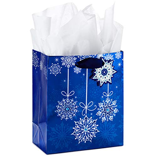 Hallmark Small Holiday Gift Bag with Tissue Paper (Blue Snowflake Ornaments)