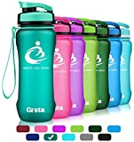 Grsta Sport Water Bottle 20oz(600ml), Wide Mouth Leak Proof BPA Free Eco-Friendly Plastic Drink Best Water Bottles for Outdoor/Running/Camping/Gym Flip Top Lid & Filter Open with 1-Click (Mint Green)