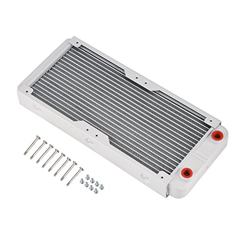 Richer-R Aluminum Radiator,White Heatsink Cooler Cooling Kit,Heat Sink Computer Water Cooling Liquid Heat Exchanger(240mm)