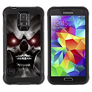 Suave TPU Caso Carcasa de Caucho Funda para Samsung Galaxy S5 SM-G900 / Skull Red Eyes Devil Evil Villain Monster / STRONG