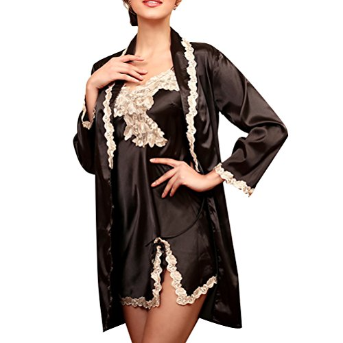 Zhuhaitf Alta calidad Womens Luxury 2 pieces Silk Pajamas Set Elegant Comfortable Sleepwear Nightgown Black