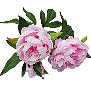 Shengyuze 1Pc 3 Heads Artificial Pink Peony Fake Flower Home Room Wedding Party Garden Decor 26
