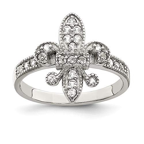 925 Sterling Silver Cubic Zirconia Cz Fleur De Lis Band Ring Size 8.00 Fine Jewelry Gifts For Women For -