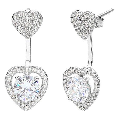 EVER FAITH 925 Sterling Silver Cubic Zirconia Love Heart Front Back Stud Ear Jacket Earrings Clear