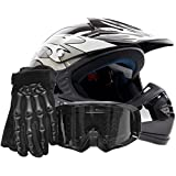 Youth Offroad Gear Combo Helmet Gloves Goggles DOT Motocross ATV Dirt Bike Motorcycle Silver Black - Large