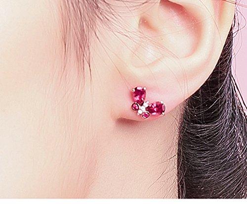 KnSam 18K Gold Earring for Women Butterfly Stud Earrings Sapphire Pear Shape Inlaid Rose Gold by KnSam (Image #1)